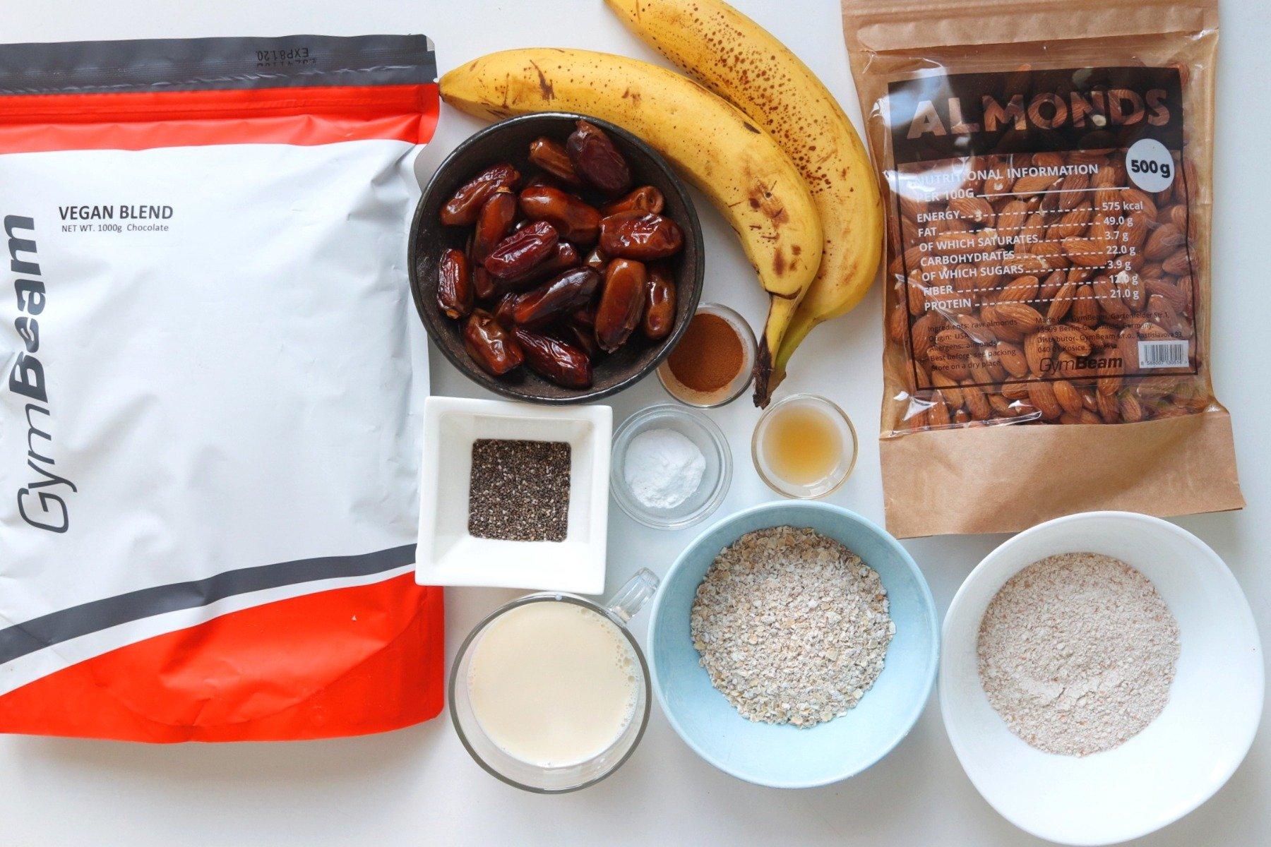 Összetevők a vegán banánkenyér elkészítéséhez