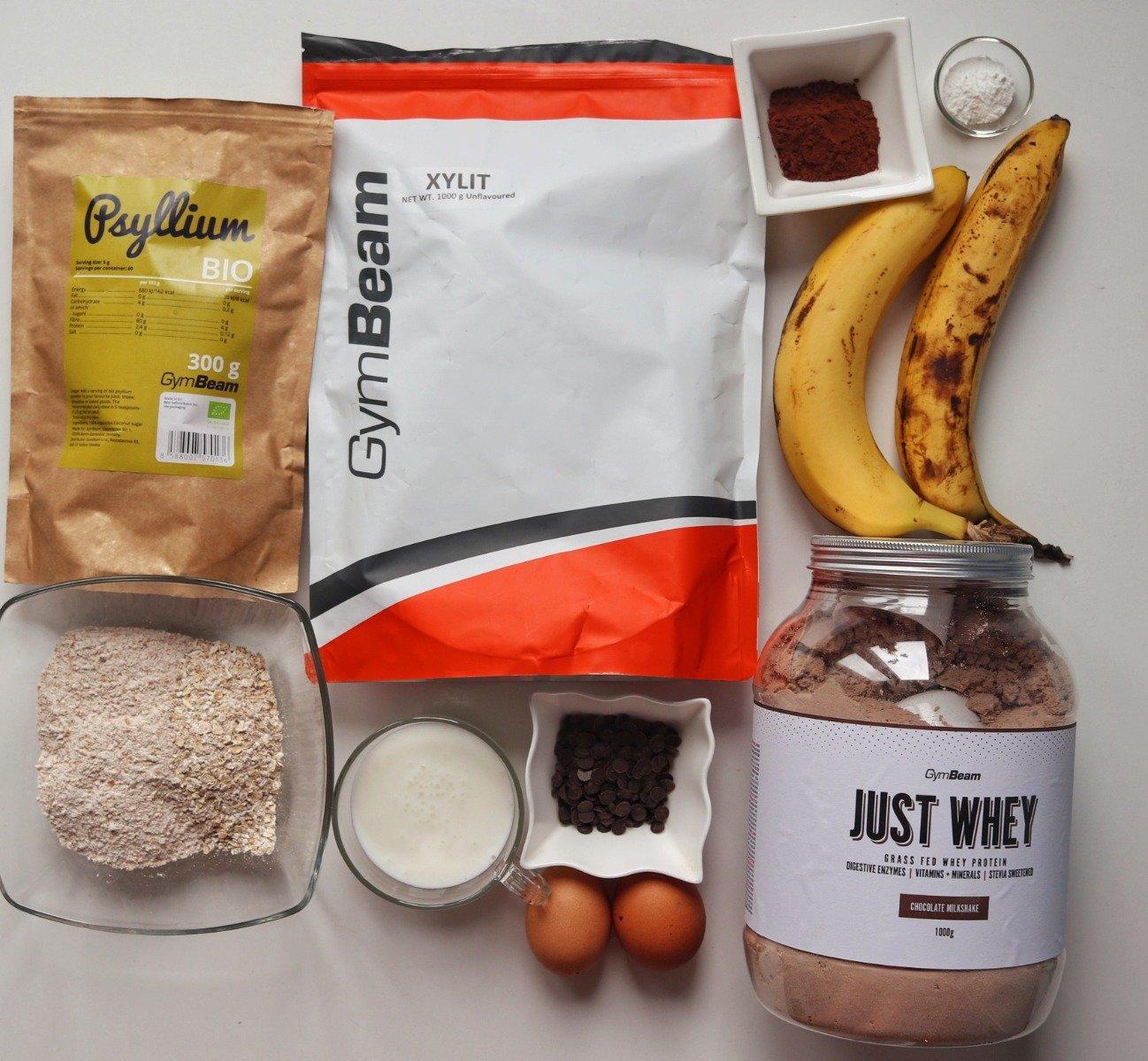 összetevők a csokoládés banánkenyér elkészítéséhez