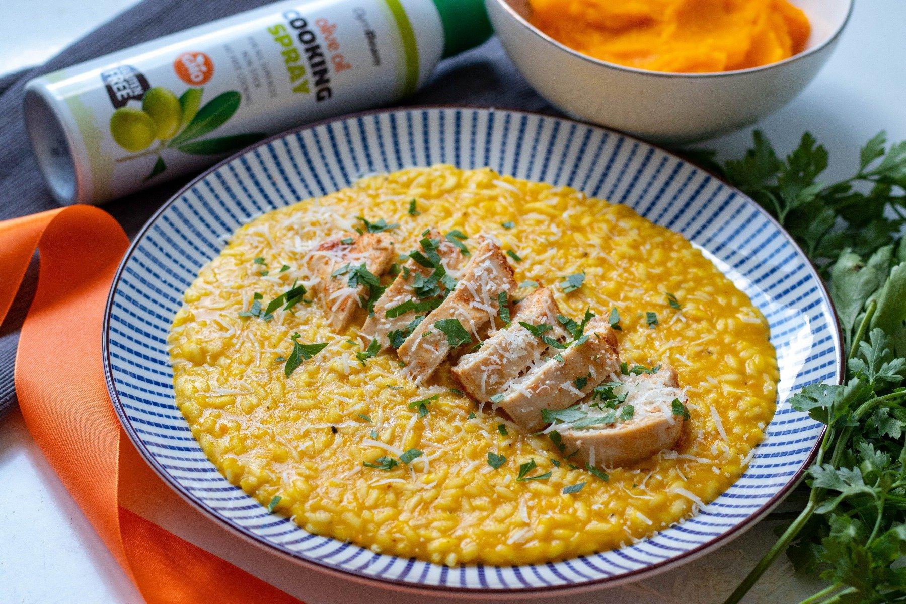 Fitness recept: krémes rizottó csirkével és tökkel