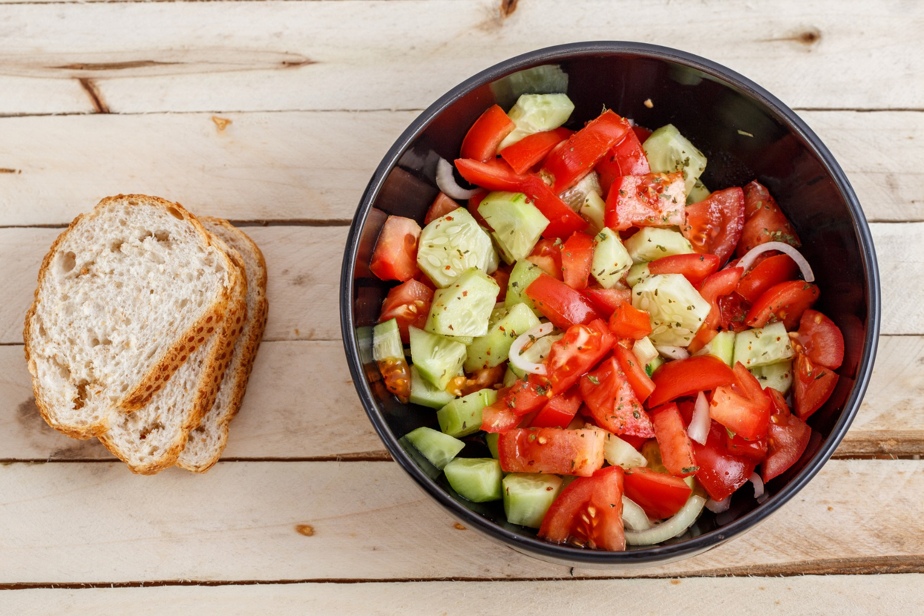 Simple tomato-cucumber salad