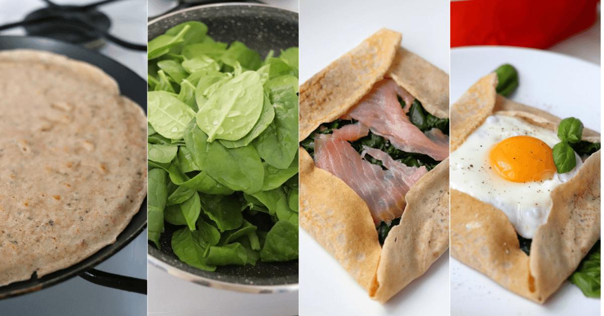 Rețetă fitness: Clătite proteice sărate umplute cu spanac, somon și ou ochi